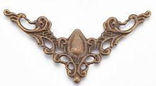 Dekorace filigránová ORNAMENT rohový antik bronz/zelená patina/ 57,5 x 33mm - 1ks