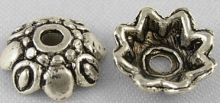 Kaplík Ø9mm Květinka barva antik stříbrná - 10ks