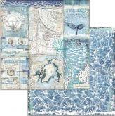 Kreativní oboustr.papír MOŘE 190g/m2 - 30,5x30,5cm