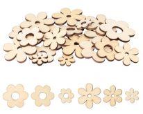 Dekorace dřevo KVĚTY mix 19-39mm - 10ks