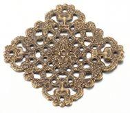 Dekorace filigránová barva antik bronz 28x28x0,5mm - 1ks