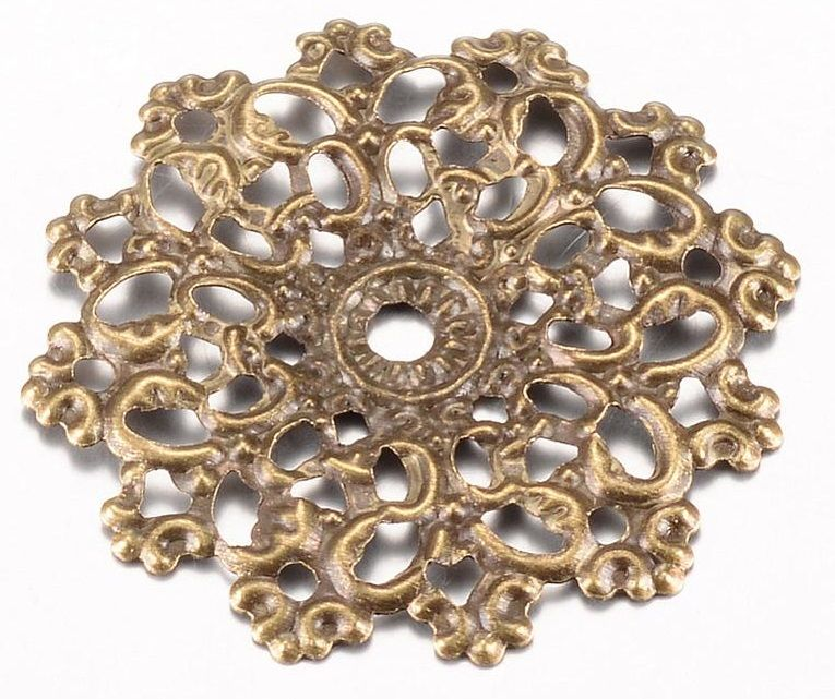 Dekorace filigránová ORNAMENT antik bronz 30,5mm - 1ks