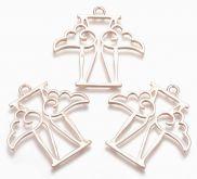 Dekorace kov Andělíček 44x45mm barva růžové zlato - 1ks