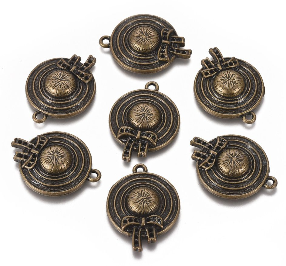 Dekorace kov KLOBOUK 26,5x20x4,5mm barva antik bronz - 1ks