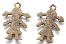 Dekorace kov Panenka 27x18mm barva antik bronz - 1ks