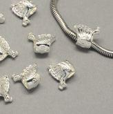Korálek s velkým průvlekem PÁV 12x14x7,5mm barva stříbrná - 1ks