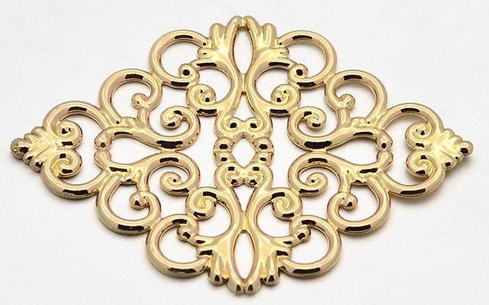 Dekorace filigránová ORNAMENT barva zlatá 43x31mm - 1ks