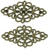 Dekorace filigránová Ornament 42x25x1mm barva antik bronz - 1 ks