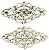 Dekorace filigránová Ornament 42x25x1mm barva antik stříbrná - 1 ks