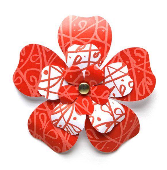 Kartonový výsek KVĚT červený /6510/ - 3květy