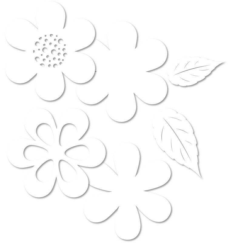 Kartonový výsek KVĚTY bílé /6237/