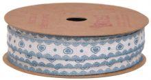 Ozdobná stuha Modré srdce 1cm/10m